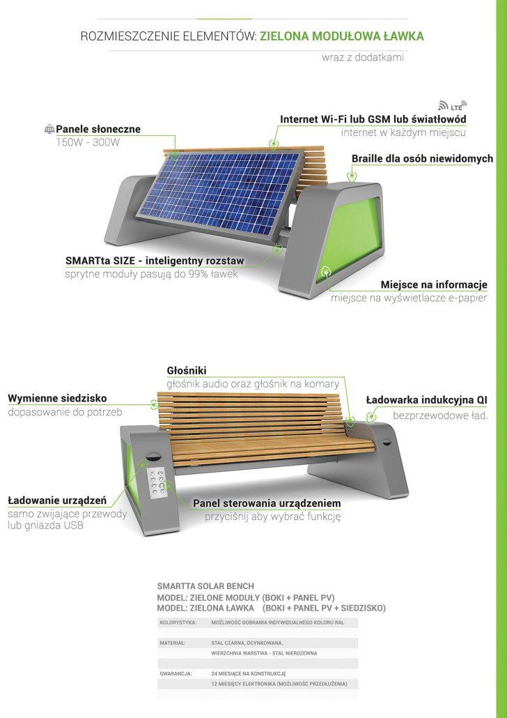 Solarna Zielona modułowa ławka