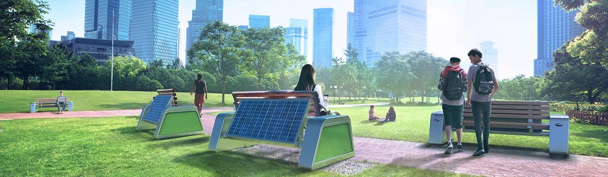 Solarna ławka w parku